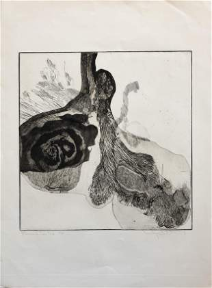 Wesley Chamberlain (1932-1990) Etching mid century