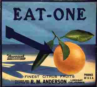 Eat One Finest Citrus - Fruit Crate Label