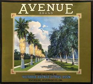 Avenue Brand Riverside Citrus - Fruit Crate Label