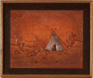 Embossed Leather Teepee Painting by Bob Robinson.