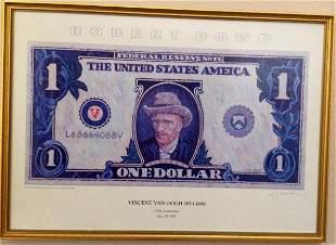 ROBERT DOWD- VAN GOGH DOLLAR, 1990, color poster, RARE,