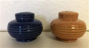 Pair Blue and Orange Vintage Mid Century Shakers