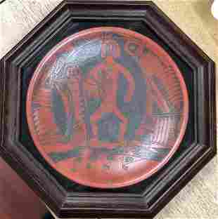 """""""Mimbres Sun Mover"""" Pottery Plate"""
