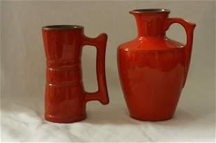 Five piece set of Frankoma Pottery
