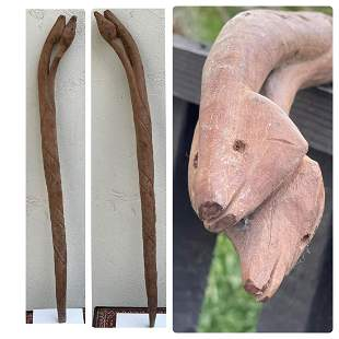 2 Serpent Heads Walking Stick