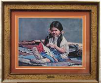 Framed Little Indian Girl Print By George E. McMahan