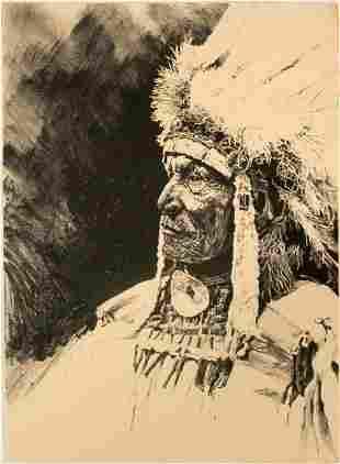 Sioux Man - Serigraph by Lynn Hayes