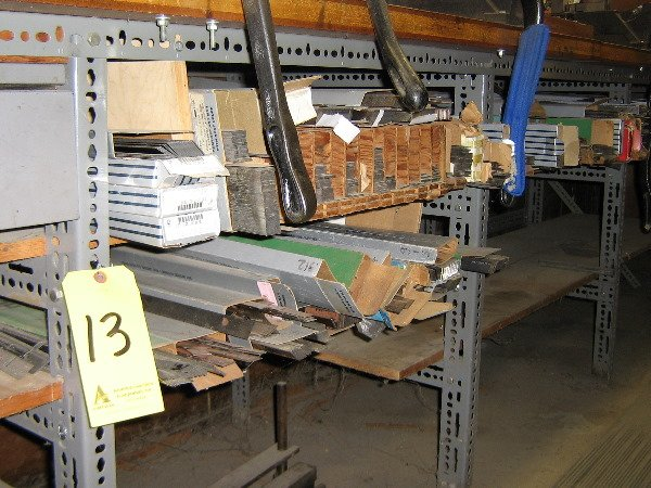 13: Steel rule, under work bench, ejection rubber, dies