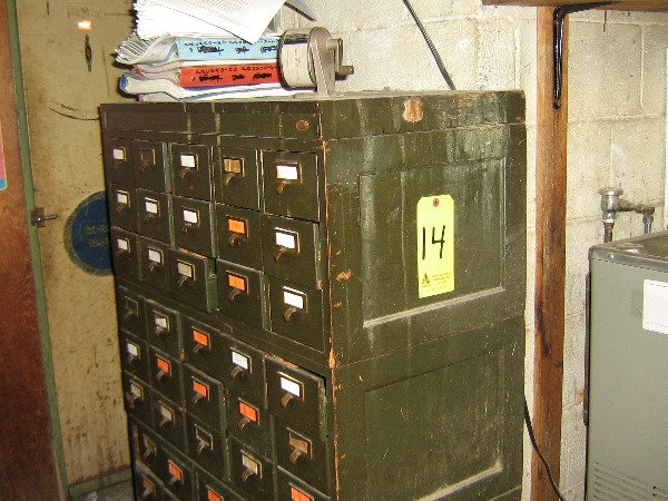 14: Wood, 45 drawer card file cabinet