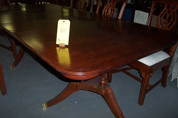 24: Chippendale  dinning table, (2) 16' cherry leaves