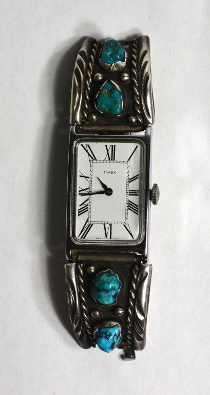 Sterling Sliver Band Watch With Navajo Turquoise.