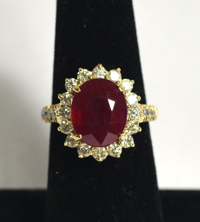 GIA 14k Yellow Gold Ruby Diamond Ring