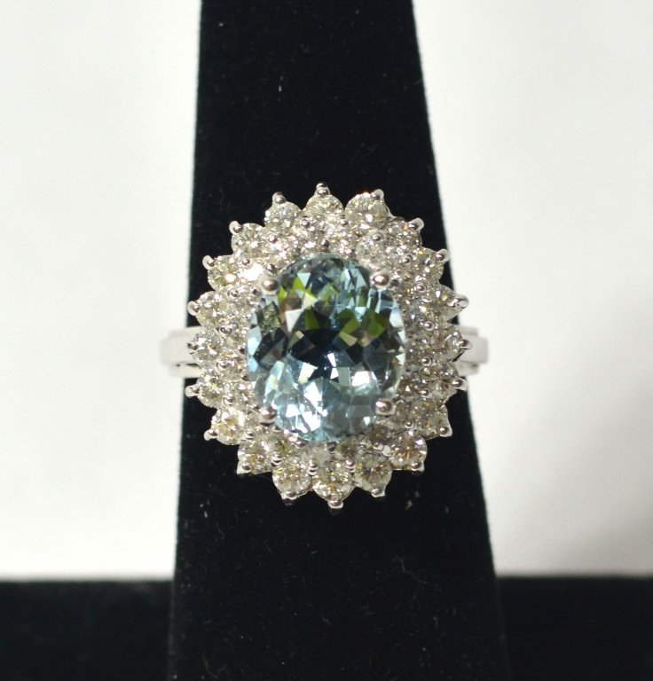 14k White Gold Aquamarine Lady's Ring