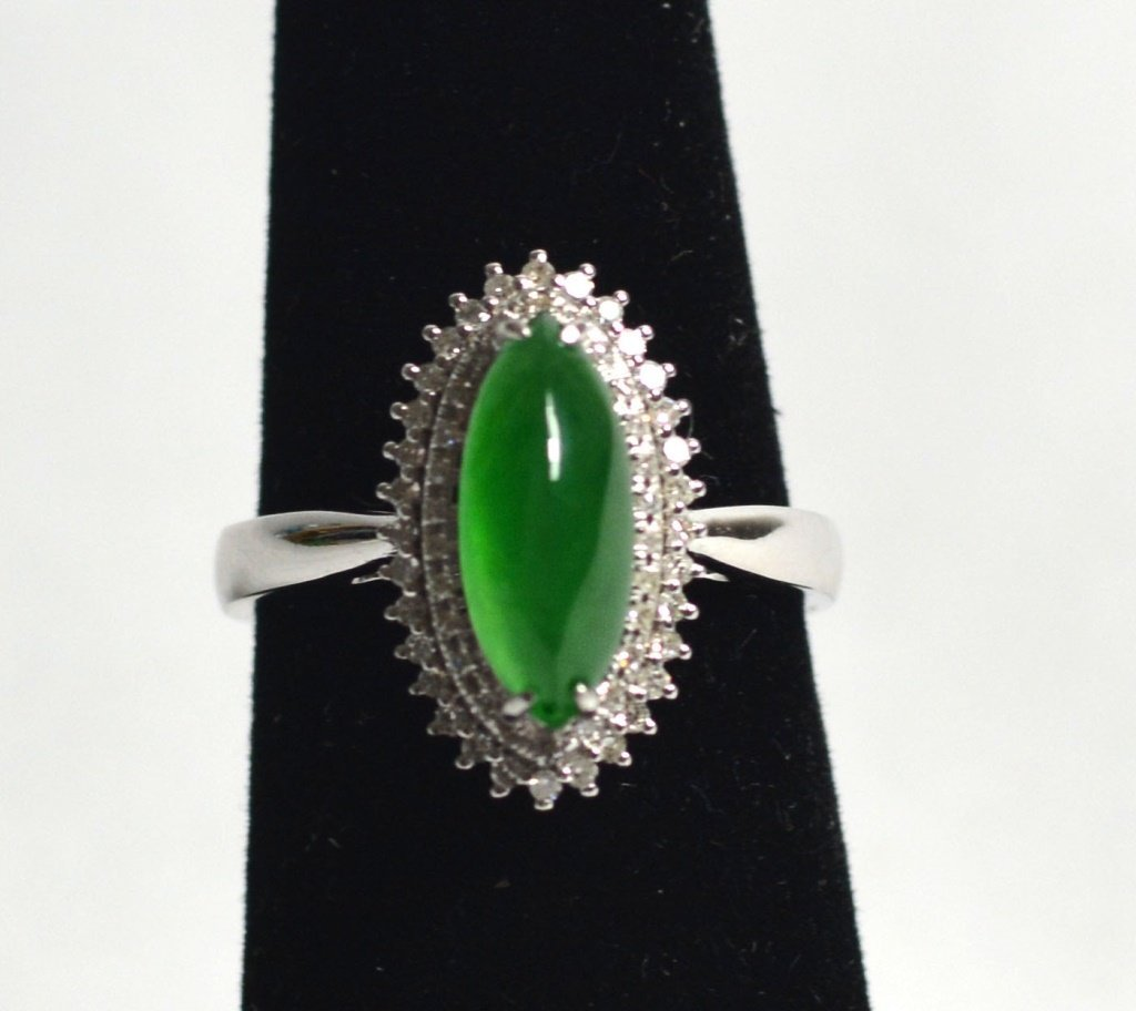 18k White Gold Natural Jadeite Jade Ring W Diamonds