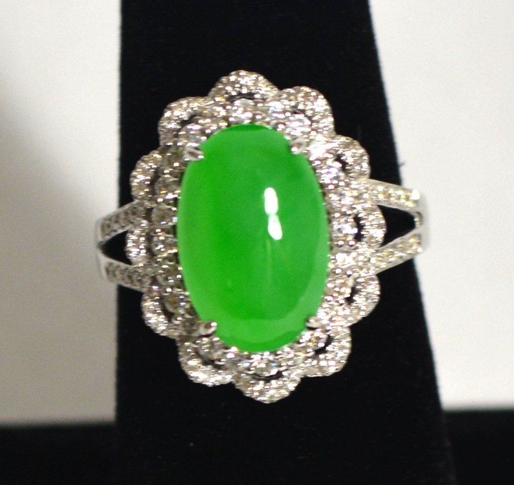 GIA 18k White Gold Natural Jadeite jade Ring W Diamonds