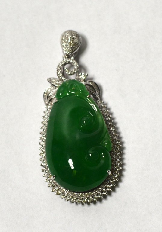 GIA Chinese Natural Carved Green Jade Pendant