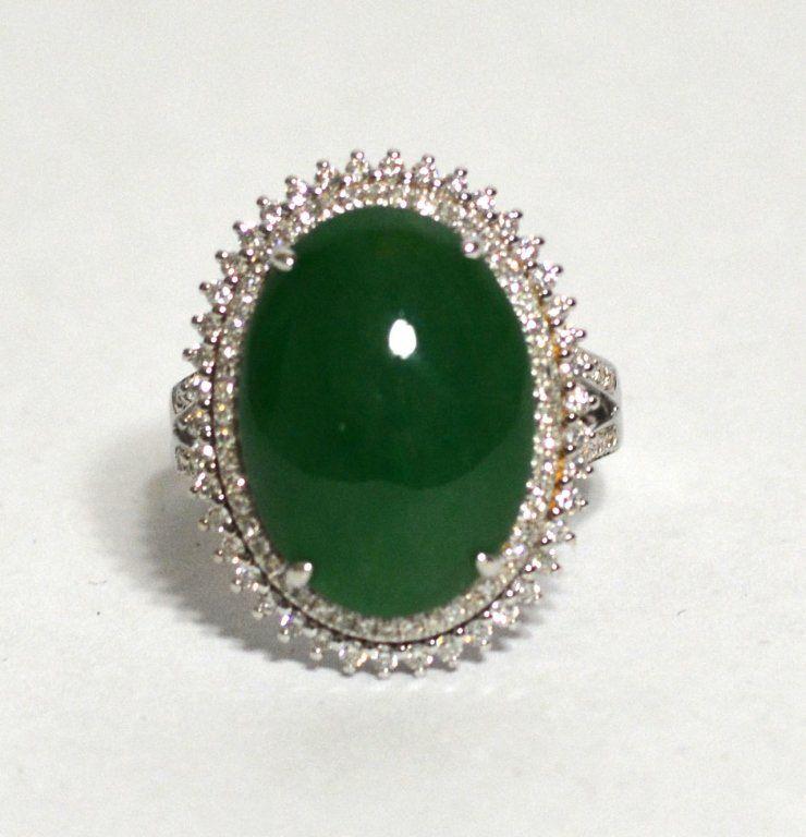 GIA 18k White Gold Natural Jadeite Jade Ring W Diamonds