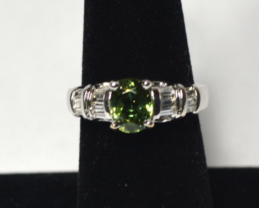 18k White Gold Demantoid & Diamonds Ring