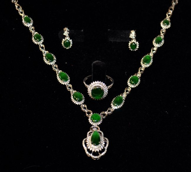 GIA Chinese Jadeite Jade Ring, Earrings, & Necklace Set