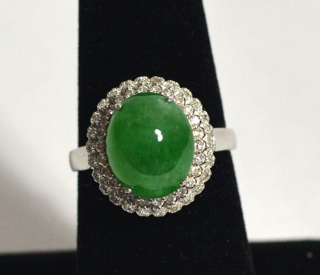 18k White Gold Chinese Natural Jade Ring W Diamonds