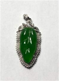GIA Natural Carving Green Jade Pendant W Diamond
