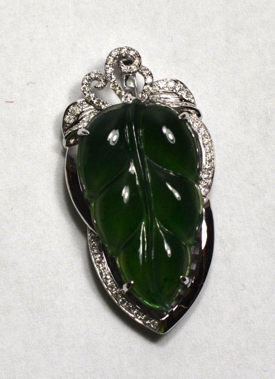 18k White Gold Natural Jadeite Jade Pendant  W Diamonds