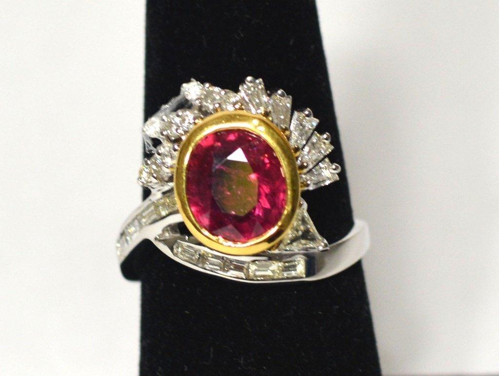 18k White & Yellow Ruby & Diamond Ladies Ring