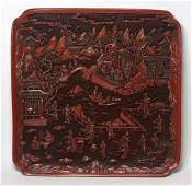 Chinese Square  Cinnabar Charger Qing Dynasty