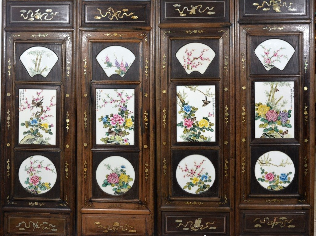 Important Four Panel W Plaque Cheng Yiting Screen