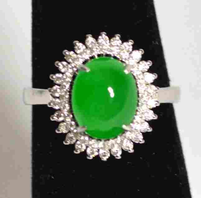 18k White Gold Natural Jadeite Jade Ring W Diamonds