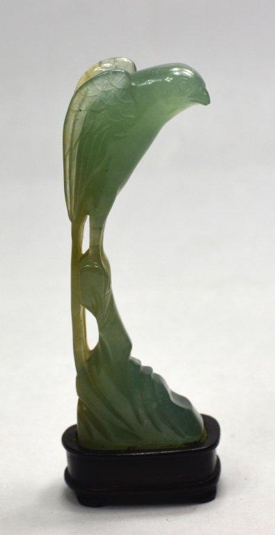 Natural Green Jade Carving Bird W Wood Stand