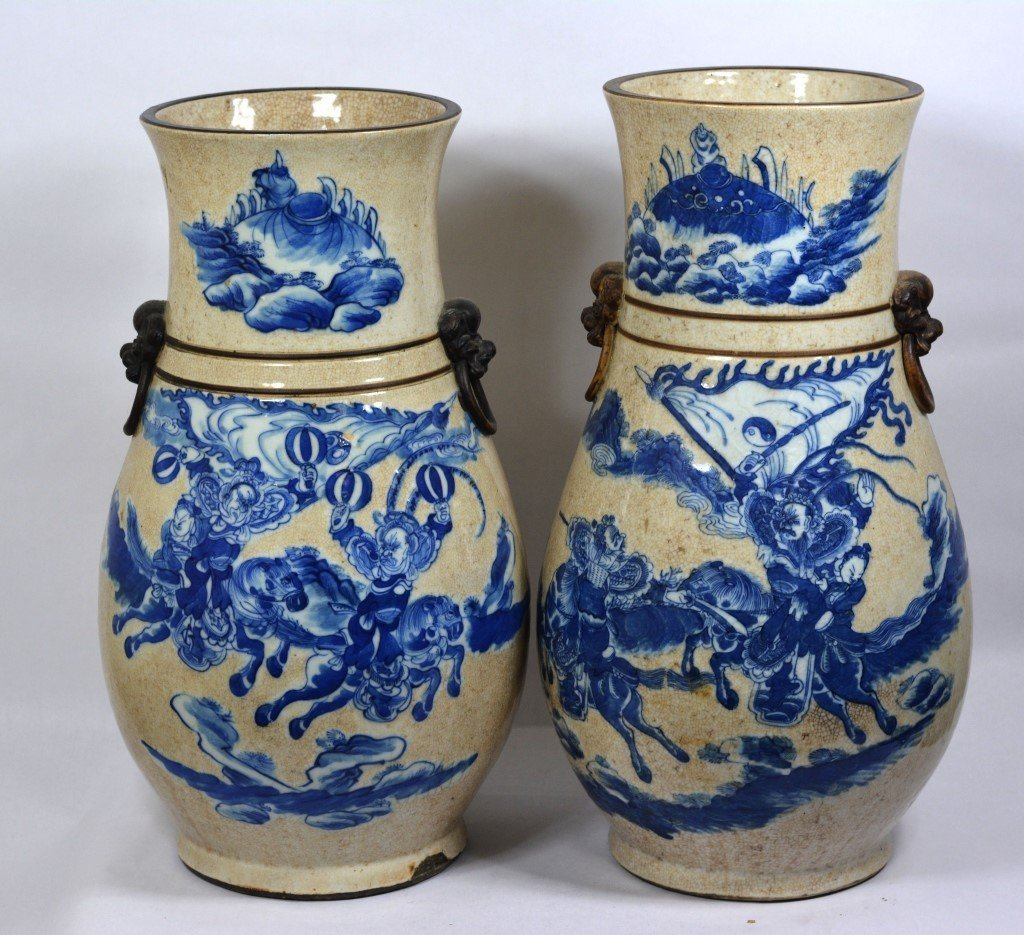 Pair Of  Large Chinese Blue & White Porcelain Vase