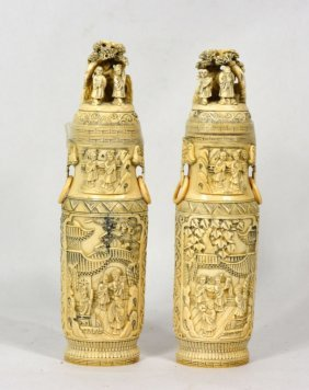 Pair Of Chinese Carved Bone Covered Vases Qing Dyn