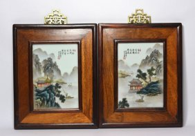 Pair Of Chinese Porcelain Plaque In Framed