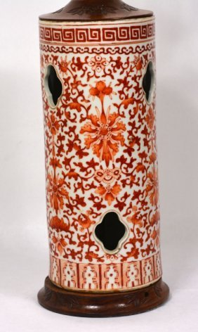 Chinese Copper Red Porcelain Lamp Base