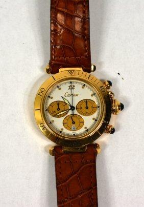 18k Yellow Gold Cartier Man's Watch