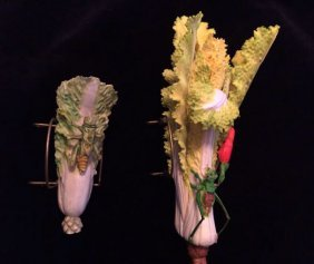 Two Piece Of Carved Bone Cabbages W Mantis