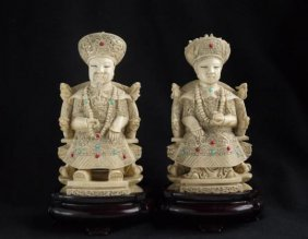 Pair Of Chinese Bone Carving Figure