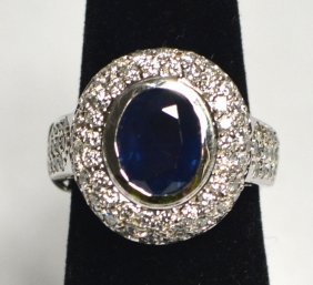 14k White Gold Sapphire Lady's Ring