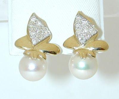 6514: 14K Gold Earring w/ Pearl/ Diamond