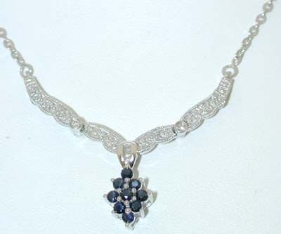 6522: 10K White Gold Diamonds/Sapphires Necklace