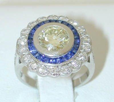 6753: Platinum Diamonds Ring w/Sapphires