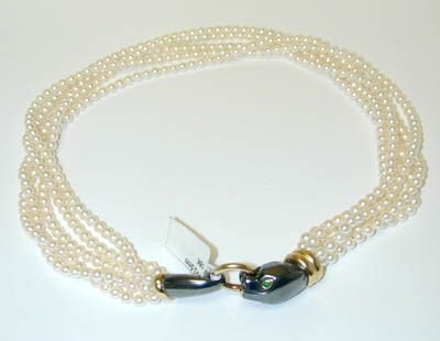 6852: CARTIER 18K Gold Pearl 5 Strands Necklace w/Emera