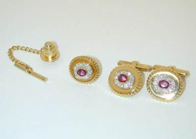 6596: 18K Gold Diamonds/Ruby Cufflinks/Tie pin set