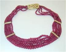 7358: VCA 18K Gold Diamonds Graduated Ruby Necklace