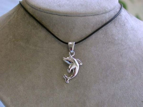 8003: Rubber Necklace with Dolphin Pendant