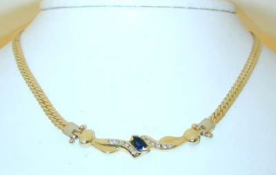 8016: 18KY Gold Necklace w/ Diamond/ Sapphire