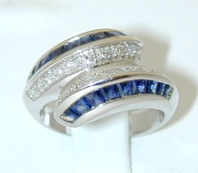 8017: 18KW Gold Ring w/ Sapphire/ Diamond
