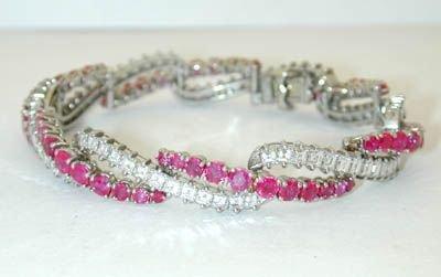 8260: French Harmer Platinum Diamond/Ruby Bracelet