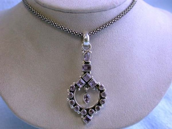 7503: Silver Necklace with Amethyst Pendant